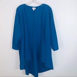 LulaRoe Long Sleeve Open Front Cardigan Blue Sz L